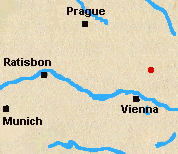 Map of Austria with Austerlitz marked.