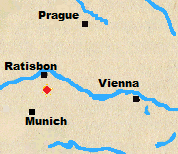 Map of Austria and Bavaria with Eckmuhl marked.