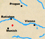 Map of Austria and Bavaria with Landshut marked.