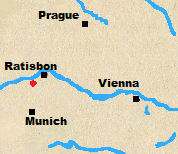 Map of Austria and Bavaria with Teugn marked.