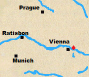 Map of Austria and Bavaria with Aspern-Essling marked. Same map as for Wagram