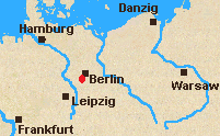 Map of North Germany with Gross-Beeren  marked.