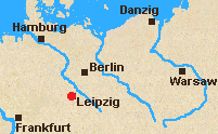 Map of east central Germany with Leipzig marked.