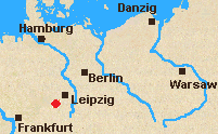 Map of north Germany with Lutzen marked.