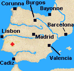 Map of Iberia with Albuera marked.