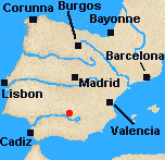 Map of Iberia with Baylen marked.