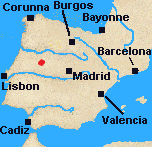Map of Iberia with Fuentes de Onoro marked.