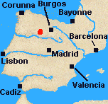 Map of Iberia with Medina de Rio Seco marked.