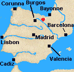 Map of Iberia with Vitoria marked.