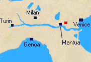 Map of Northern Italy with Arcola marked.