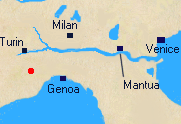 Map of Northern Italy with location of Ceva.