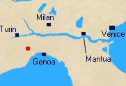 Map of Northern Italy with location of Dego.