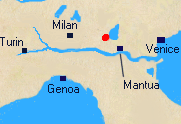 Map of Northern Italy with Lonato marked.