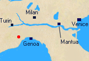 Map of Northern Italy with Location of Montnotte.