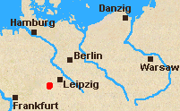 Map of North Germany with Jena marked.