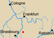 Map of Rhineland with Ettlingen marked.