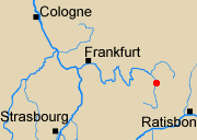 Map of Rhineland with Forcheim marked.