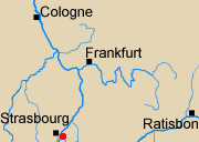 Map of Rhineland with Kinzig marked.