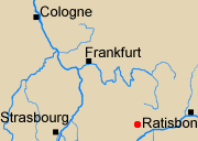 Map of Rhineland with Neresheim marked.