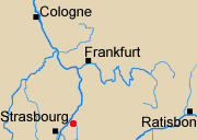 Map of Rhineland with Rastatt marked.