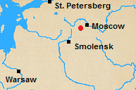 Map of north central Russian with Borodino marked.
