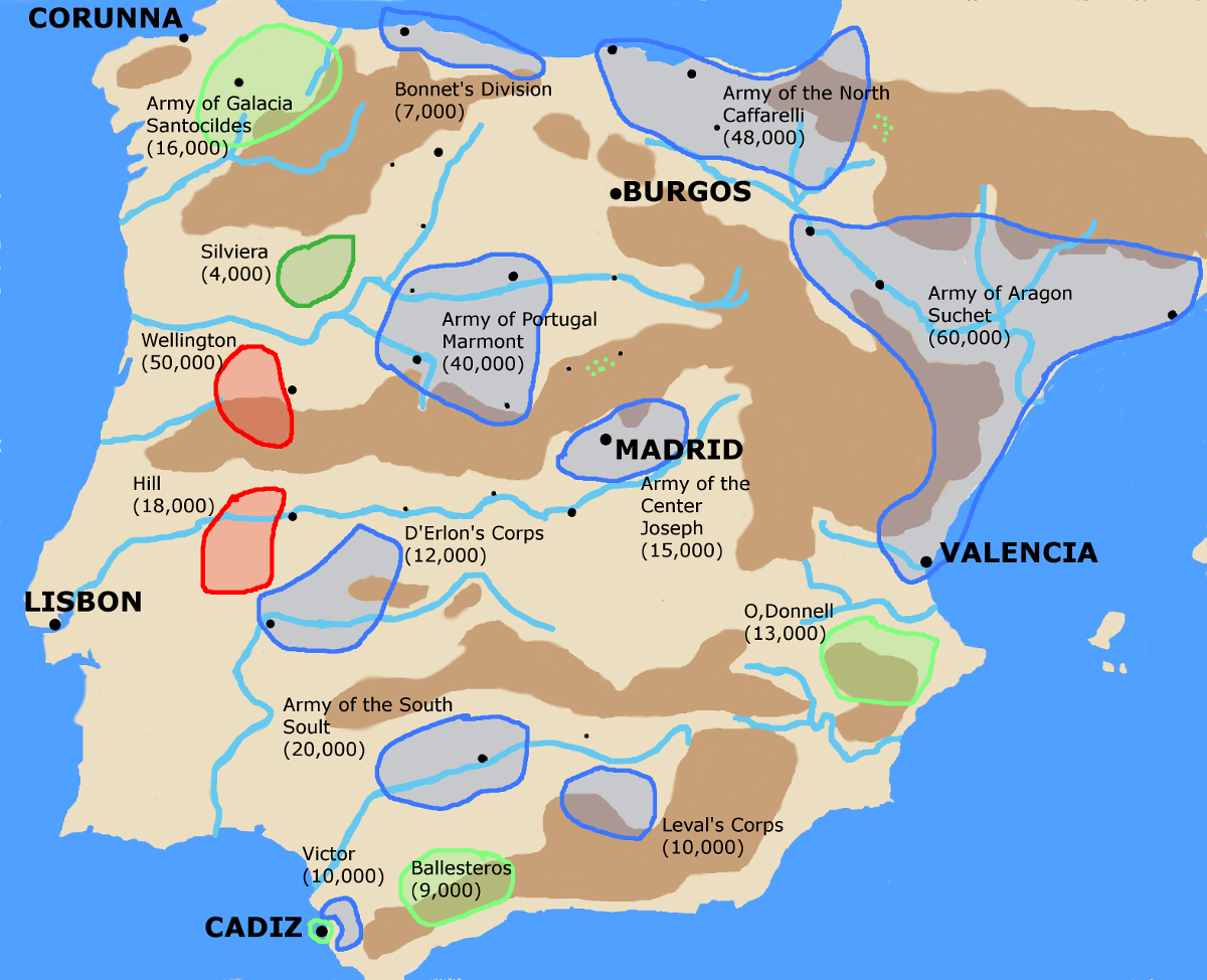 A map showing the strategic situation in the Peninsula at the end of May  1812.